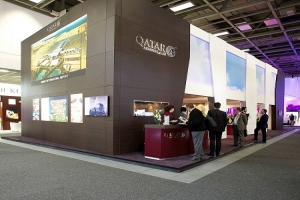Attendees are invited to visit the Qatar Airways booth in the Messe Berlin Exhibition